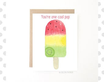 Birthday Dad ~ Father's Day Card ~ Pop Card ~ Happy Father's Day ~ Card for Dad ~ Popsicle Card ~ Recycled Paper