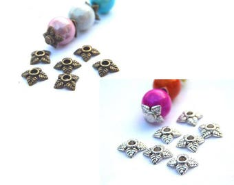 50 bead caps 6mm, bronze or silver color 4 petal flower bead caps