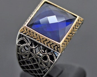925 Sterling Silver Mens Ring with Sapphire blue Zirconia