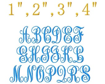 """ABC Script Machine Embroidery Font - Sizes 1"""",2"""",3"""",4"""" BUY 2 get 1 FREE"""