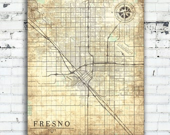 Fresno ca map Etsy