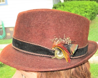 Vintage 60s Brown Fur Felt Pelana 7 Hat Fedora Hiking