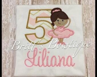 Embroidered Girls birthday Dancer Ballerina shirt