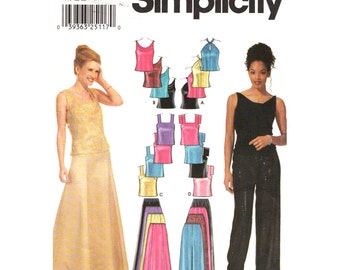Cross Strap Halter Top, Evening Skirt, Wide Pants Pattern Simplicity 9833 Womens Sewing Pattern Size 4 to 10 UNCUT