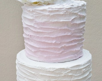 Fake cake, 2 tier fake cake pink ombre and white cake