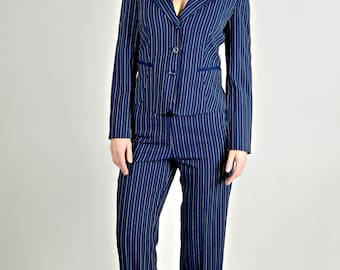 90s Suit, Pinstripe Suit, Womens Business Clothing, Women's Professional Clothing, Navy Blue & Yellow,  Jacket and Pant Suit,