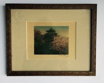 Antique Wallace Nutting Hand-colored Photograph, Framed