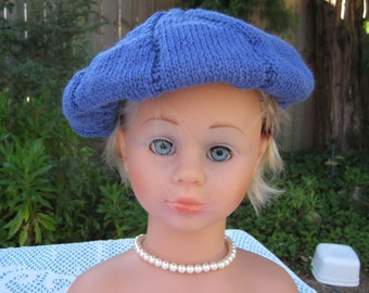 Handmade Knitted Prussian Blue Beret for Girl aged 8-12 years  in Bendigo Woollen Mills 8 Ply