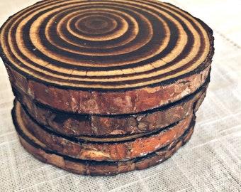 Rustic Burnt Wood Coasters/ Set of 4
