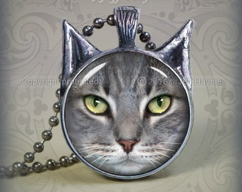 TBKG11 Grey Tabby Cat Pendant -Callie
