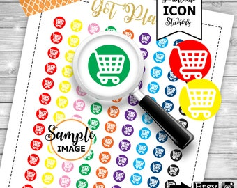 Shopping Cart Icons, Printable Shopping Cart Stickers, Planner Stickers, Functional Stickers for Planners