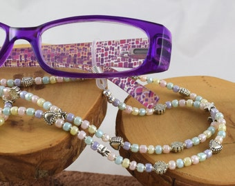 Sweet Pastel soft colors eyeglass sunglass handcrafted beaded chain never lose your glasses again!