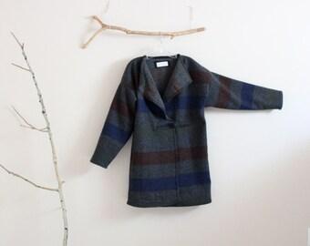 flap collar gray stripes wool jacket ready to wear / wool wrap jacket /