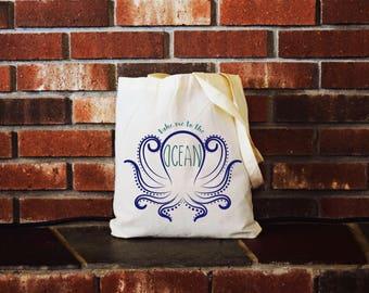 Canvas Tote, canvas tote bag, canvas bag, canvas, beach, beach bag, beach tote, vacation, ocean, octopus