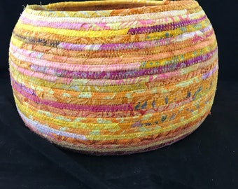 Large Yellow, Pink and Orange Coiled Fabric Basket