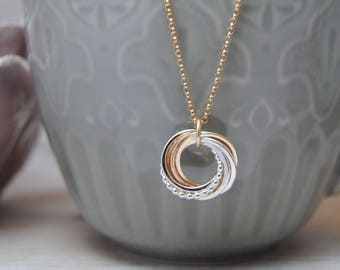 Petite Love Knot Necklace, 8 Ring, Silver Beaded Rings, Gold Rings Necklace, Mixed Metals Necklace, 80th Birthday, Gift for Mom