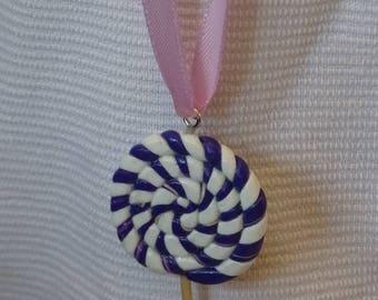 purple white lollipop pendant