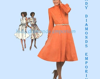 Simplicity 5487 Womens 80s Feminine Dress Flared Skirt Mandarin Collar Sleeve Options size 16 Bust 38 Vintage Sewing Pattern Uncut FF #311