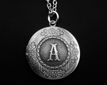Initial Locket Necklace -Letter Photo Locket -Monogram Locket Necklace -Wedding Jewelry -Your Choice of A - Z