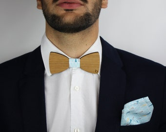 Wooden bow tie and pocket bag-Oyan