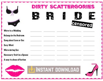 Bachelorette Party Games   Who wants to play Dirty Scattegories?   Instant Download