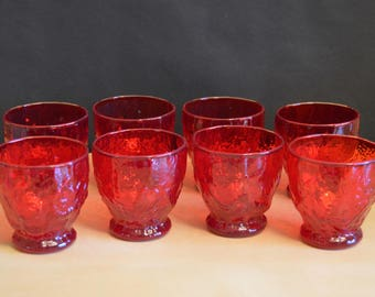 "Set of 8 Vintage Ruby Red Morgantown Seneca Driftwood 3"" Juice Glasses, Crinkle Bumpy Textured, 4 oz, Mid Century"