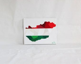 Hungary Painting, Original Painting, Hungary, Hungary Map, Hungary Flag, Hungarian, Map Art, Travel Gift, Family Tree Art, Map Of The World