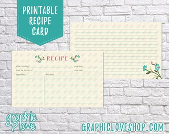 Digital 3x5 Pink and Teal Floral Double Sided Printable Recipe Card | High Resolution JPG Files, Instant Dowload, Ready to Print