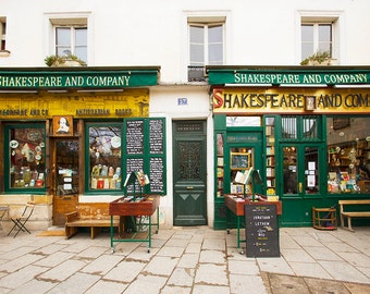 Paris Photograph, Shakespeare and Company, Travel Fine Art Photograph, Large Wall Art, French Wall Decor