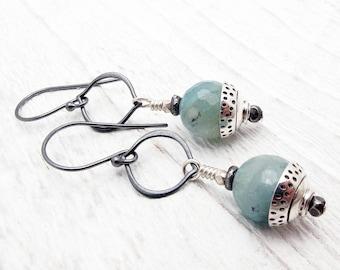 aquamarine earrings, gemstone earring, blue earrings, March birthstone, aquamarine gift, blue gemstones, Christmas gift, boho jewelry