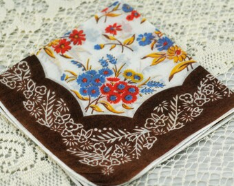 Vintage Hankie Brown on White With Oranges and Blues #D-54