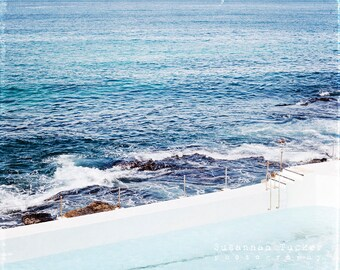 SALE - Coastal Decor, ocean photography, Icebergs swimming pool, Bondi Beach, seaside, beach decor, ocean wall art -The Icebergs