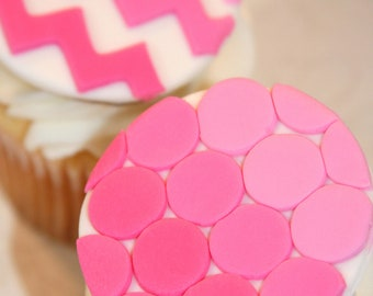Fondant cupcake toppers Ombre Chevrons Circle Pattern