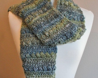 Olive and Blue MultiColor Bean Stitch Crochet Scarf
