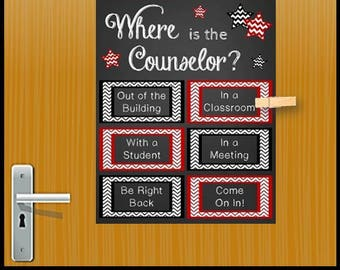 School Counselor Gift, Red and Black School Counseling Office Decor, Mental Health Counselor Gift, Office Door, Where is the Counselor Sign