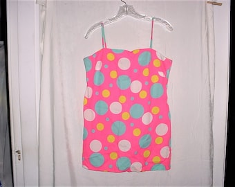 Vintage 60s Mod Neon Pink Mini Tunic Top Dress Blue Dot M