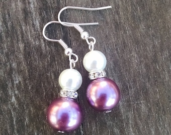 Purple and White Double Pearl Earrings with Crystal Accents, Faux Pearl Jewelry, Pearl Wedding Jewelry - Available in Clip-on Earrings