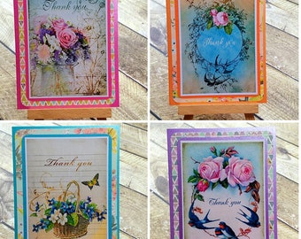 Thank you cards vintage style set of 4 handmade thank you notes notelets greeting cards pretty floral cards stationery