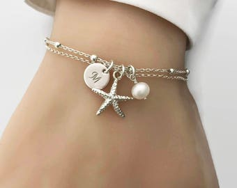 Personalized Starfish Bracelet in Sterling Silver - Beach Bracelet, Beach Wedding, Bridesmaid Gift, Nautical bracelet