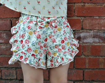GIRLS SHORTS! ruffled shorts sewing pattern, kids shorts pdf sewing pattern for girls 2 - 12 years, cute ruffled shorts pattern