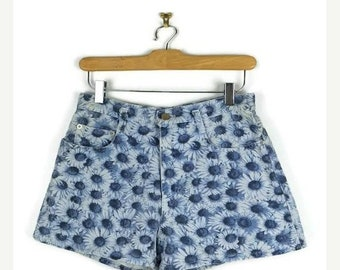 ON SALE Vintage Blue Floral printed  High waist Denim Shorts from 1980's/W26