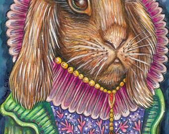 "Aeriadney - a Whimsical 8 x 10"" ART PRINT of a sweet pretty female rabbit wearing a tiara & princess dress because she is a fashion designer"