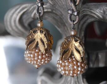 Seed Pearl Bombs--Vintage Faux Seed Pearl Clusters Vintage Brass Leaf Caps Vintage Link Chain EARRINGS