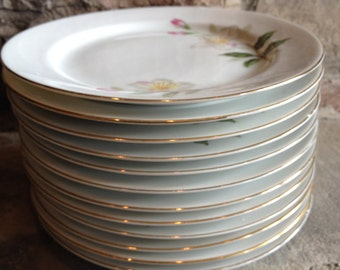 Seyei Azalea 2128 Bread Butter / Dessert Cake Plates Se Yei Floral Fine China Lot Vintage Set 12 - #4589