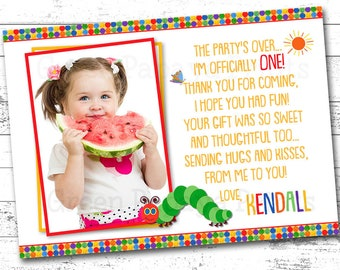 The Very Hungry Caterpillar Birthday Thank You Card, 1st, 2nd Birthday, Any Age, Printable Thank you, Birthday Party Thank You Card, Photo