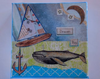 Dream Big Whale with Raft Canvas art