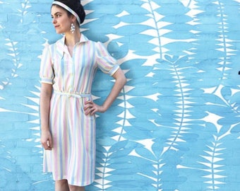 Vintage 1930's Multicolor Pastel Striped Dress