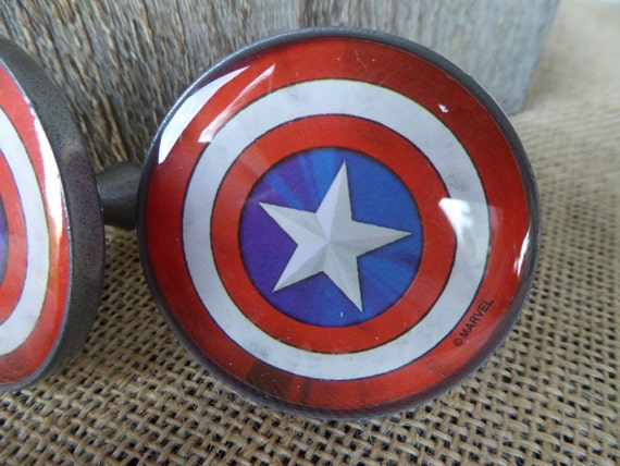 Marvel comic captain america shield knob drawer pull super for Kitchen cabinets lowes with marvel superhero wall art