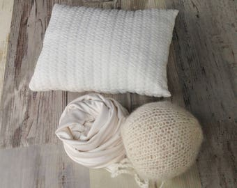 Set of 3 products: Knit hat, Handmade pillow and stretch wrap, Set, Newborn photo prop set, Mini Posing pillows, RTS