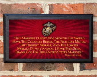 US Marine Corps Thank God for the United States Marines Eleanor Roosevelt Wall Art Sign Plaque Gift Present Vintage USMC Semper Fi Classic